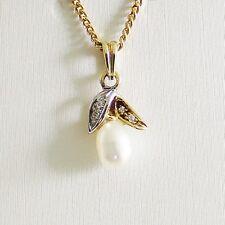 Anhänger Gold 585er Biwa Diamanten Goldanhänger 14 kt  Perlenanhänger Damen