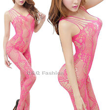 Rose Red Floral Teddy Cat Jumpsuit BodyStocking Lingerie Nighties Open Crotch H