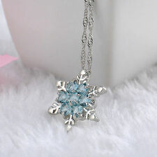 Womans Girls 925 Sterling Silver Necklace Light Blue crystal snowflake