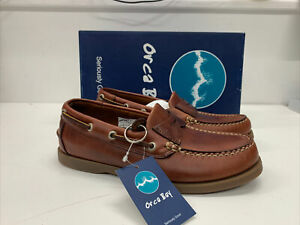 """ORCA BAY """"KITTS"""" BROWN LEATHER BOAT SHOES SIZE 5 EUR 38 (L) NEW BOXED """