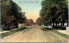 1912 Postcard Street Scene Alger Ohio OH Dirt Road View Hardin County Near Lima