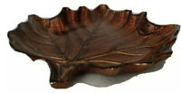 """Iridescent Art Glass Dichroic style Decoupage Copper Leaf Shaped Dish 9""""x8""""x1"""""""