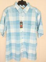 Haggar Mens Short Sleeve Button Front Shirt Easy Care Aqua Blue Plaid Sz L NWT
