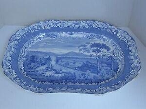 "Antique Large Blue and White Copeland & Garrett Late Spode Platter 21"" X 15 7/8"""