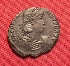 Ancient Roman Silvered Bronze Constantius AE2 Coin