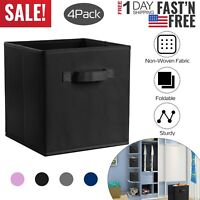 Foldable Storage Cube 4pcs Basket Bins Organizer Closet Container Fabric Drawers