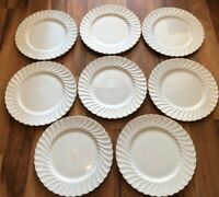 Set Of 8 Aynsley Whisper Gold Dinner Plates - 27.5cm