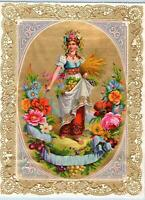 1890's VICTORIAN IMAGE OF WOMAN FRUITS & FLOWERS*DIE CUT INTRICATE GOLD EDGE