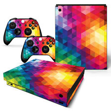 For Xbox One X Skin Console & 2 Controllers Neon Triangle Vinyl Wrap Decal