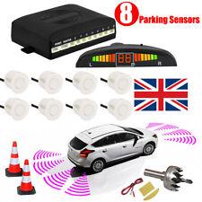 Car Front & Rear Reversing 8 Parking Sensors LED Display Buzzer Alarm Kit White