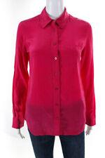 Equipment Femme Womens Long Sleeve Button Down Silk Blouse Top Pink Size XS