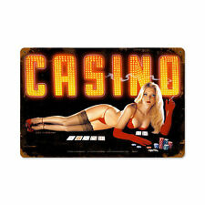 Red Light casino poker de las vegas pin up girl retro sign chapa escudo escudo grande