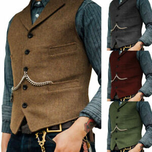 Mens Vest Tweed Lapel Jacket Lapel Herringbone Waistcoat Casual Vintage Slim Fit