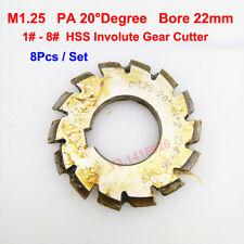8pcsset Hss M125 Bore 22mm Pa 20degree 12345678 Involute Gear Cutter
