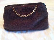 NWOT! Brown Faux Fur Baguette Handbag Victoria's Secret Gold Toned Chain Strap