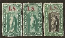 "CANADA ONTARIO LAW SOCIETY REVENUES 1864 80c, 90c & $1 ""LS"" MISPLACED ON 90c"