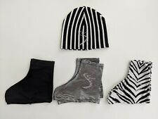 Black & White Striped Hat, Zebra Black Silver Boot Cover