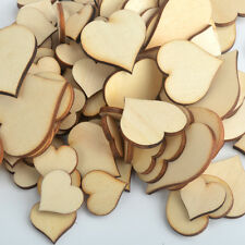 Pack 100 Mixed 20/30/40mm Hearts Shape MDF Cut Wooden Wood Craft Arts Decoration