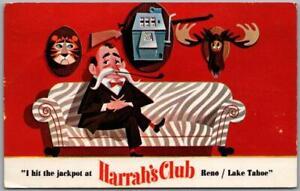 "Reno, Nevada Postcard HARRAH'S CLUB CASINO Reno / Lake Tahoe ""I Hit the Jackpot"""