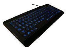 iMBAPrice Large Font Print USB LED Backlit Keyboard, Orange and Blue (iMBA-LOB-B