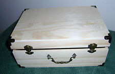 "Unfinished Medium Wood Craft Suitcase Trinket Storage Box Pet Urn 10.5"" x 7.25"""