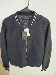 "Lucky Brand Women's Fleece Bomber Jacket Black Size L(40""Bust/23""L)NWT"