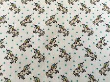 Fantasy Mythical Unicorn with stars girly feminine polycotton fabric
