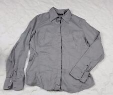 New York & Co Gray Shirt Grey Button Down Stretch LS Cuffed Career Size Large