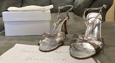 Manolo Blahnik Silver Metallic Sandals Size 38.5 (US 8)