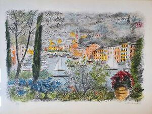 """Michele Cascella """"Portofino"""" Splendida litografia Cornice a giorno 50 x 70 N°93"""