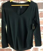 NWT Old Navy Women's Relaxed V-neck Top Soft medium weight Rounded Black Sz S