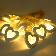 Wooden Led Heart Shape String Fairy Lights Wedding Event Party Decoration Home