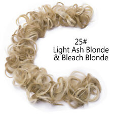 100% Real Natural Messy Bun Wedding Vintage Updo Curly Wave Fake Hair Extensions
