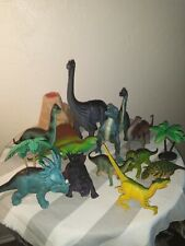 Lot of 14 Hard Plastic Dinosaurs, 4 plam trees,Volcano & surprise Dinosaur bonus