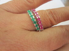 Sterling Silver Rhodium Plated Ring Synthetic Ruby Emerald stackable 2 band 7