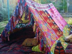 Indian Vintage Silk Sari Multi color Patchwork hippie Boho tent Glamping Decor