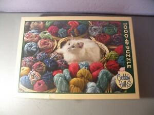 Cobble Hill Fur Ball White Cat In Yarn1000 Piece Jigsaw Puzzle New Sealed Box