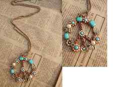 Lange Peace Kette bunt bronze gold Halskette Style Statement Blumen antik rosa