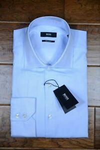 Hugo Boss Men's Gerald Regular Fit Pastel Blue Cotton Dress Shirt 39 15.5