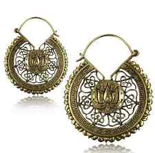 "PAIR LOTUS FLOWER 2"" INCH LONG ORNATE BRASS PLUGS EARRINGS GAUGES HOOPS HANGERS"