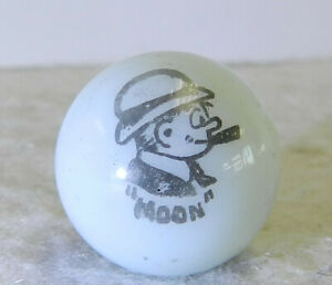#12568m Vintage Peltier Comic Picture Marble Moon .66 Inches