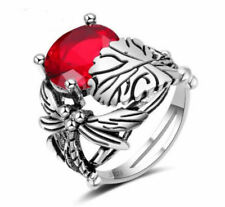 Dragonfly and Red Morganite Sterling Silver Ring (Size 7)