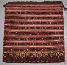 Antiguo Tekke turcomanos Silla Bolsa, bandas mixtas técnica, ligamento tafetán atrás, 1900