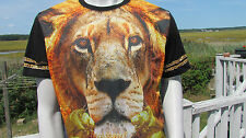 NEW LARGE SOUTHPOLE t-shirt lion chains graphic black urban hip-hop rap big cat