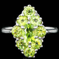 100% NATURAL 7X5MM PERIDOT GENUINE GEMSTONE STERLING SILVER 925 RING SIZE 8