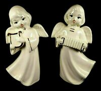 "Vintage Pair Angels Figurines 8"" White Gold Trim 1978 Christmas Ceramic"