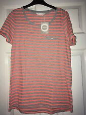 Bhs Orange & Grey Striped cotton Mix top t-shirt Ladies size 12 new with tags