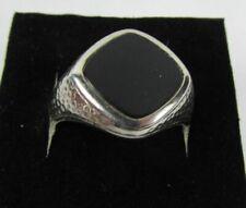 Fine vintage heavy 10K white gold black onyx men's ring size 9.5 - 7.4 Grams