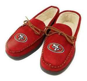 NFL San Francisco 49ers Men's Colored Moccasin Hard Slippers-New