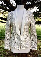 NEW Anthropologie Dolce Vita ivory Faux Leather Pierce Laser Cut Blazer Jacket M